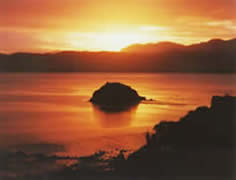 Hokianga sunrise over Mahena Island at Koutu Point